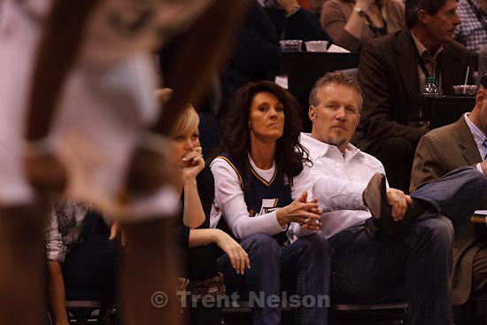Trent Nelson  |  The Salt Lake Tribune.Utah Jazz vs. Los Angeles Lakers, NBA basketball Friday, November 26, 2010 at EnergySolutions Arena. greg miller and his wife, Heidi Miller.