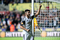 Thursday  03 October  2013  Pictured:Alejandro Pozuelo of Swansea celebrates his goal<br /> Re:UEFA Europa League, Swansea City FC vs FC St.Gallen,  at the Liberty Staduim Swansea