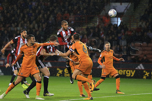 27th September 2017, Bramall Lane, Sheffield, England; EFL Championship football, Sheffield United versus Wolverhampton Wanderers; Leon Clarke of Sheffield United scores with the header for 2-0