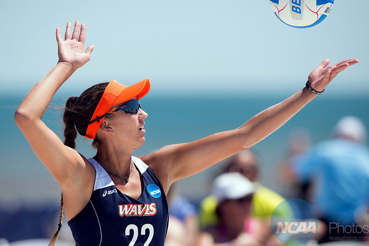 GULF SHORES, AL - MAY 07:  Maddy Roh (10) and Delaney Knudsen (3) of Pepperdine celebrate winning a point during the Division I Women's Beach Volleyball Championship held at Gulf Place on May 7, 2017 in Gulf Shores, Alabama.The University of Southern California defeated Pepperdine 3-2 to claim the national championship. (Photo by Stephen Nowland/NCAA Photos via Getty Images)