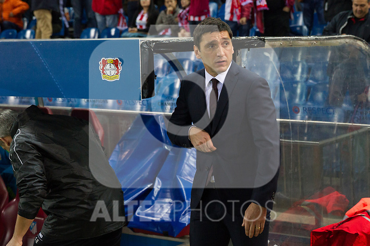 Tayfun Korkut of Bayer 04 Leverkusen during the match of Uefa Champions League between Atletico de Madrid and Bayer Leverkusen at Vicente Calderon Stadium  in Madrid, Spain. March 15, 2017. (ALTERPHOTOS / Rodrigo Jimenez)