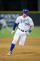 Chris DeVito (34) of the Burlington Royals rounds third base during the game against the Kingsport Mets at Burlington Athletic Stadium on July 18, 2016 in Burlington, North Carolina.  The Royals defeated the Mets 8-2.  (Brian Westerholt/Four Seam Images)