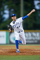 Burlington Royals relief pitcher Andre Davis (44) in action against the Johnson City Cardinals at Burlington Athletic Park on August 22, 2015 in Burlington, North Carolina.  The Cardinals defeated the Royals 9-3. (Brian Westerholt/Four Seam Images)