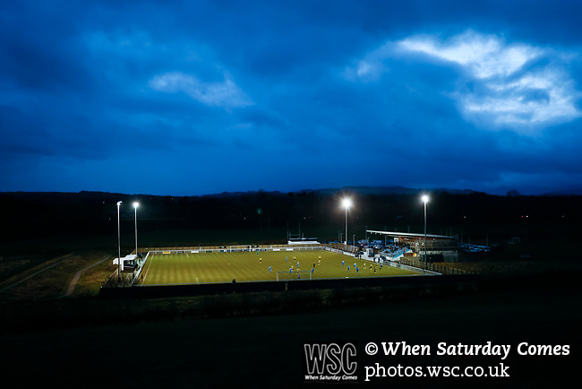 A view of Frenchfield Park from the adjoining fields at twilight. Penrith AFC V Hebburn Town, Northern League Division One, 22nd December 2018. Penrith are the only Cumbrian team in the Northern League. All the other teams are based across the Pennines in the north east.<br />