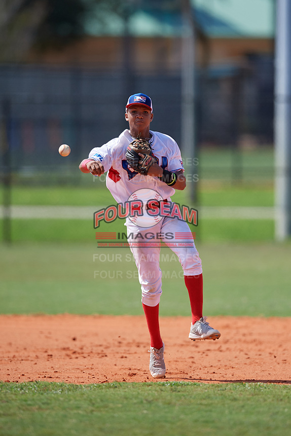 Joel Peguero (3) during the Dominican Prospect League Elite Florida Event at Pompano Beach Baseball Park on October 15, 2019 in Pompano beach, Florida.  (Mike Janes/Four Seam Images)