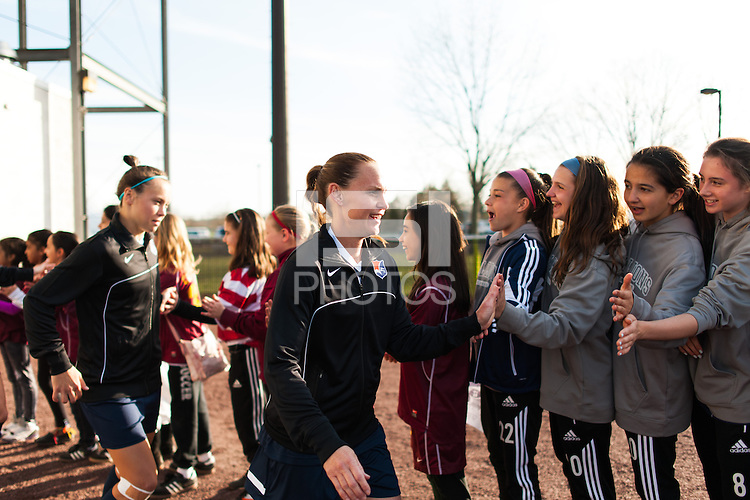Sky Blue FC defender Christie Rampone (3) greets fans prior to playing the Western New York Flash. Sky Blue FC defeated the Western New York Flash 1-0 during a National Women's Soccer League (NWSL) match at Yurcak Field in Piscataway, NJ, on April 14, 2013.
