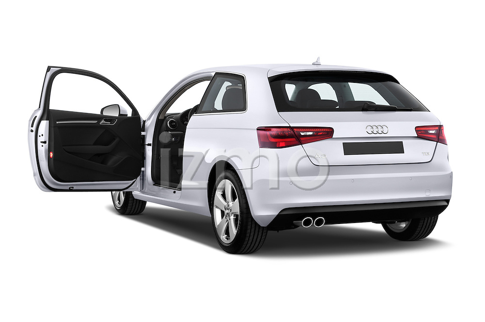 Rear three quarter door view of a 2013 - 2014 Audi A3 Ambition 3-Door Hatchback.