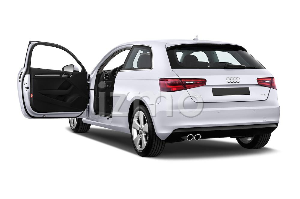 Rear three quarter door view of a 2013 - 2014 Audi A3 Ambition 3-Door Hatchback.