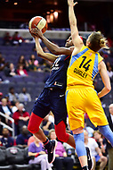 Washington, DC - June 15, 2018: Washington Mystics guard Shatori Walker-Kimbrough (32) goes up for a lay up over Chicago Sky guard Allie Quigley (14) during game between the Washington Mystics and Chicago Sky at the Capital One Arena in Washington, DC. (Photo by Phil Peters/Media Images International)