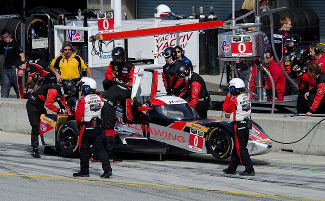 Monterey California, May 4, 2014, Laguna Seca Monterey Grand Prix, DeltaWIng car in pits during race.