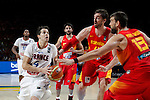 Spain´s Ricky Rubio, Pau Gasol and Marc Gasol and France´s Heurtel during FIBA Basketball World Cup Spain 2014 match between Spain and France at `Palacio de los deportes´ stadium in Madrid, Spain. September 10, 2014. (Victor Blanco)