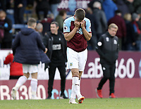 Burnley's Johann Gudmundsson looks dejected at the final whistle<br /> <br /> Photographer Rich Linley/CameraSport<br /> <br /> The Premier League - Burnley v Huddersfield Town - Saturday 6th October 2018 - Turf Moor - Burnley<br /> <br /> World Copyright &copy; 2018 CameraSport. All rights reserved. 43 Linden Ave. Countesthorpe. Leicester. England. LE8 5PG - Tel: +44 (0) 116 277 4147 - admin@camerasport.com - www.camerasport.com