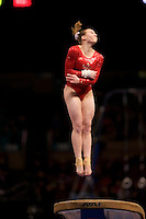 3/1/08 - Photo by John Cheng - Alyssa Brown of Canada performs on vault at the Tyson American Cup in Madison Square GardenPhoto by John Cheng - Tyson American Cup 2008 in Madison Square Garden, New York.Brown