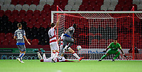 Lincoln City's John Akinde scores the opening goal<br /> <br /> Photographer Chris Vaughan/CameraSport<br /> <br /> EFL Leasing.com Trophy - Northern Section - Group H - Doncaster Rovers v Lincoln City - Tuesday 3rd September 2019 - Keepmoat Stadium - Doncaster<br />  <br /> World Copyright © 2018 CameraSport. All rights reserved. 43 Linden Ave. Countesthorpe. Leicester. England. LE8 5PG - Tel: +44 (0) 116 277 4147 - admin@camerasport.com - www.camerasport.com