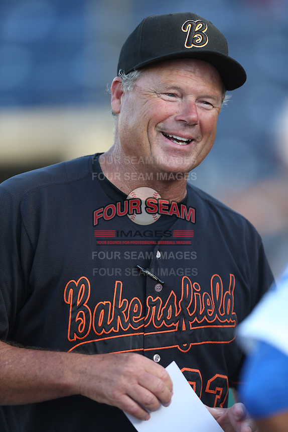 Bakersfield Blaze Manager Pat Kelly #33 during a game against the Rancho Cucamonga Quakes at LoanMart Field on June 9, 2014 in Rancho Cucamonga, California. Bakersfield defeated Rancho Cucamonga, 3-1. (Larry Goren/Four Seam Images)