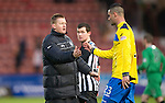 Dunfermline v St Johnstone..24.12.11   SPL .Steve Lomas congratulates Marcus Haber at full time.Picture by Graeme Hart..Copyright Perthshire Picture Agency.Tel: 01738 623350  Mobile: 07990 594431