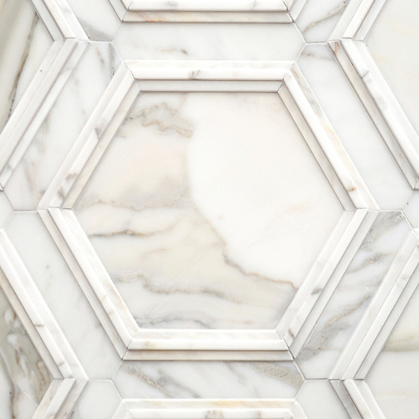 Coliseum, a stone waterjet mosaic, shown in honed Calacatta and Venetian honed Calacatta, is part of the Altimetry Collection for New Ravenna.<br />