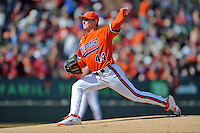Clemson Tigers starting pitcher Matthew Crownover #44 delivers a pitch during a game against the South Carolina Gamecocks at Fluor Field on March 1, 2014 in Greenville, South Carolina. The Gamecocks defeated the Tigers 10-2. (Tony Farlow/Four Seam Images)