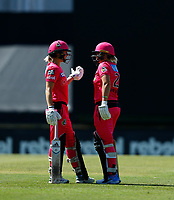 2nd November 2019; Western Australia Cricket Association Ground, Perth, Western Australia, Australia; Womens Big Bash League Cricket, Melbourne Renegades versus Sydney Sixers; Ellis Perry and Dane Van Niekerk of the Sydney Sixers discuss tactics in the middle - Editorial Use