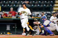 Bradenton Marauders first baseman Jose Osuna #36 at bat in front of catcher Cam Maron #7 during a game against the St. Lucie Mets on April 12, 2013 at McKechnie Field in Bradenton, Florida.  St. Lucie defeated Bradenton 6-5 in 12 innings.  (Mike Janes/Four Seam Images)