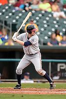 Mississippi Braves outfielder David Rohm (24) at bat during a game against the Montgomery Biscuits on April 22, 2014 at Riverwalk Stadium in Montgomery, Alabama.  Mississippi defeated Montgomery 6-2.  (Mike Janes/Four Seam Images)