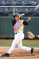 Everett Aquasox infielder Danny Lopez #8 bats against the Tri-City Dust Devils at Everett Memorial Stadium on August 13, 2011 in Everett,Washington. Everett defeated Tri-City 6-4.(Larry Goren/Four Seam Images)