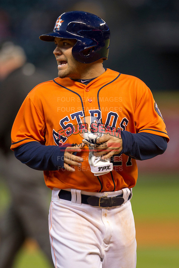 Houston Astros second baseman Jose Altuve (27) during the MLB baseball game against the Detroit Tigers on May 3, 2013 at Minute Maid Park in Houston, Texas. Detroit defeated Houston 4-3. (Andrew Woolley/Four Seam Images).
