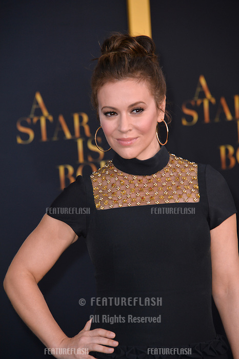 LOS ANGELES, CA. September 24, 2018: Alyssa Milano at the Los Angeles premiere for &quot;A Star Is Born&quot; at the Shrine Auditorium.<br /> Picture: Paul Smith/Featureflash