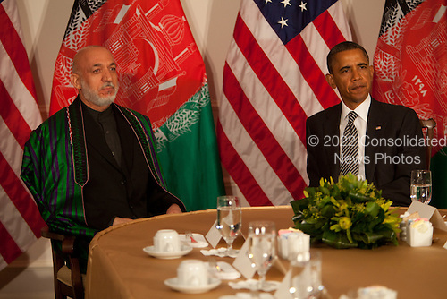 With the news that Afghan peace council leader, former President Burhanuddin Rabbani of Afghanistan, was killed by a suicide bomber casting a cloud over their talks, Afghan President Hamid Karzai, left, meets with United States President Barack Obama, right, during the U.N. General Assembly in New York, New York on Tuesday, September 20, 2011..Credit: Allan Tannenbaum / Pool via CNP