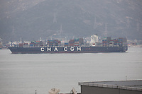 The Container Ship CMA CGM Mundra in the South China Sea, Hong Kong on 7.4.19.