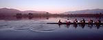 Rowing, US National Men's eight, workout, ARCO Olympic Training Center, Otay Lake, Chula Vista, California, Dusk, panorama, 1996 Olympic crew,.