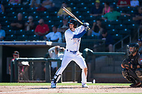 Surprise Saguaros right fielder Cavan Biggio (26), of the Toronto Blue Jays organization, at bat in front of catcher Daulton Varsho (8) during an Arizona Fall League game against the Salt River Rafters on October 9, 2018 at Surprise Stadium in Surprise, Arizona. Salt River defeated Surprise 10-8. (Zachary Lucy/Four Seam Images)
