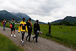 Cameroonian forward player Samuel Eto'o leaves the training with physiotherapist and friends at the FIFA World Cup 2014 Cameroon's training camp, in Walchsee on May 28 2014. <br /> &copy; Pierre Teyssot