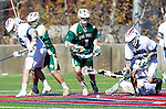 Los Angeles, CA 02/06/16 - Austin Lord (Cal Poly #1) and unidentified Loyola Marymount player(s)in action during the Cal Poly SLO Mustangs vs Loyola Marymount Lions MCLA Men's Lacrosse game.  Cal Poly defeated LMU 24-5