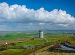 County Clare, Ireland: Tower Castle and fields near Doolin, on Ireland's west coast