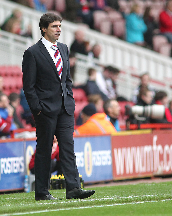 Middlesbrough manager Aitor Karanka <br /> <br /> Photographer Rich Linley/CameraSport<br /> <br /> Football - The Football League Sky Bet Championship - Middlesbrough v Fulham - Saturday 04th October 2014 - Riverside Stadium - Middlesbrough<br /> <br /> &copy; CameraSport - 43 Linden Ave. Countesthorpe. Leicester. England. LE8 5PG - Tel: +44 (0) 116 277 4147 - admin@camerasport.com - www.camerasport.com
