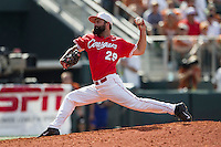 Houston Cougars pitcher Tyler Ford (29) delivers a pitch to the plate during the NCAA baseball game against the Texas Longhorns on June 6, 2014 at UFCU Disch–Falk Field in Austin, Texas. The Longhorns defeated the Cougars 4-2 in Game 1 of the NCAA Super Regional. (Andrew Woolley/Four Seam Images)