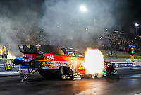 Jul 21, 2017; Morrison, CO, USA; NHRA funny car driver Courtney Force launches off the starting line during qualifying for the Mile High Nationals at Bandimere Speedway. Mandatory Credit: Mark J. Rebilas-USA TODAY Sports