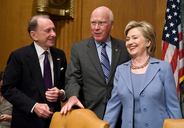From left, Sen. Arlen Specter, Pa., Sen. Patrick Leahy, D-Vt., and Secretary of State Hillary Clinton arrive for the Senate Appropriations Committee State, Foreign Operations, and Related Programs Subcommittee hearing on the State Department's budget on Wednesday, May 20, 2009.