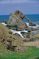 Bow Fiddle Rock, a sea stack and arch of quartzite rock on the North Sea coast at Moray Firth, Scotland, AGPix_0196.