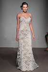 Model walks runway in Collette - a French lace column gown with soft long train, from the Anna Maier Couture Collection 45 by Charles W. Bunstine II, at 32 West 39 Street on April 17, 2016 during New York Fashion Week Spring Summer 2017.