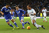 Lee Peltier and Craig Noone of Cardiff City closely marks Gabriel Agbonlahor of Aston Villa during the Sky Bet Championship match between Cardiff City and Aston Villa at The Cardiff City Stadium, Cardiff, Wales, UK. Monday 02 January 2017
