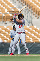 Mesa Solar Sox third baseman Roberto Baldoquin (24), of the Los Angeles Angels organization, at bat during an Arizona Fall League game against the Glendale Desert Dogs at Camelback Ranch on October 15, 2018 in Glendale, Arizona. Mesa defeated Glendale 8-0. (Zachary Lucy/Four Seam Images)