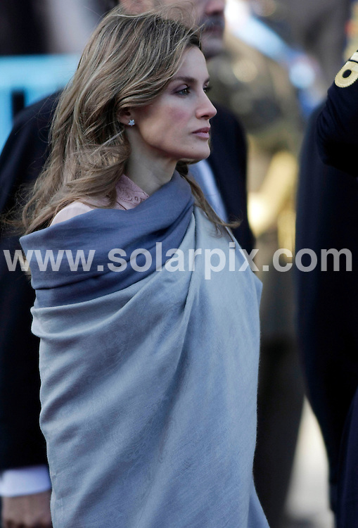 **ALL ROUND PICTURES FROM SOLARPIX.COM**                                             **SYNDICATION RIGHTS FOR UK, AUSTRALIA & NEW ZEALAND ONLY**                                                                                  Caption: Spanish Royals and Politicians attend the annual Homage To The Flag parade, which takes place on the National Holiday of 12 October. Madrid, Spain. 12 October 2010                                                                              This pic: Princess Letizia                                                                                             JOB REF: 12291 SKX       DATE:  12_10_2010                                                          **MUST CREDIT SOLARPIX.COM OR DOUBLE FEE WILL BE CHARGED**                                                                      **MUST AGREE FEE BEFORE ONLINE USAGE**                               **CALL US ON: +34 952 811 768 or LOW RATE FROM UK 0844 617 7637**