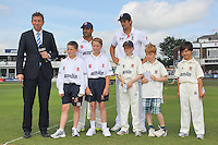 The captains and mascots await the toss - Essex CCC vs England - LV Challenge Match at the Essex County Ground, Chelmsford - 30/06/13 - MANDATORY CREDIT: Gavin Ellis/TGSPHOTO - Self billing applies where appropriate - 0845 094 6026 - contact@tgsphoto.co.uk - NO UNPAID USE