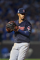 Cleveland Indians shortstop Francisco Lindor (12) in the eighth inning during Game 3 of the Major League Baseball World Series against the Chicago Cubs on October 28, 2016 at Wrigley Field in Chicago, Illinois.  (Mike Janes/Four Seam Images)