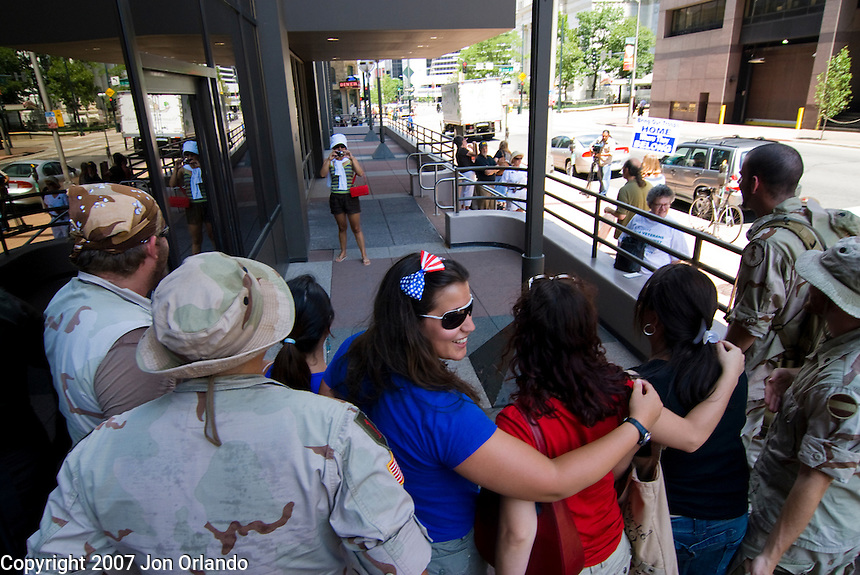 Members of the Denver chapter of the Iraq Veterans Against the War perform Operation First Casualty in downtown Denver on July 4th.  OPC aims to bring the story of the war to the American people by re-enacting scenes of war in cities throughout the U.S.
