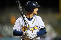 Montgomery Biscuits shortstop Andrew Velazquez (5) on deck during a game against the Mississippi Braves on April 24, 2017 at Montgomery Riverwalk Stadium in Montgomery, Alabama.  Montgomery defeated Mississippi 3-2.  (Mike Janes/Four Seam Images)