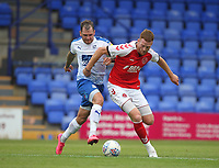 Fleetwood Town's Cian Bolger battles with Tranmere Rovers James Norwood<br /> <br /> Photographer Mick Walker/CameraSport<br /> <br /> Football Pre-Season Friendly - Tranmere Rovers  v Fleetwood Town  - Saturday 21st July 2018 - Prenton Park - Tranmere<br /> <br /> World Copyright &copy; 2018 CameraSport. All rights reserved. 43 Linden Ave. Countesthorpe. Leicester. England. LE8 5PG - Tel: +44 (0) 116 277 4147 - admin@camerasport.com - www.camerasport.com