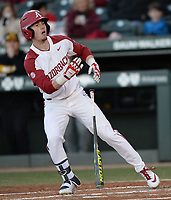 NWA Democrat-Gazette/ANDY SHUPE<br /> Arkansas designated hitter Matt Goodheart heads to first Friday, March 15, 2019, after drawing a bases-loaded walkd against Missouri during the first inning at Baum-Walker Stadium in Fayetteville. Visit nwadg.com/photos to see more photographs from the game.